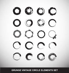 Grunge vintage circle logo elements set vector