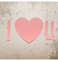 I love You Realistic Valentines Day paper Sign vector image