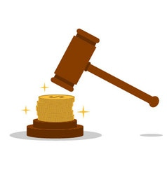 Isolated cartoon law hammer and bribery vector image