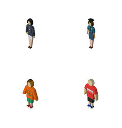 Isometric people set of girl policewoman guy and vector