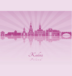 Kalisz skyline in purple radiant orchid vector