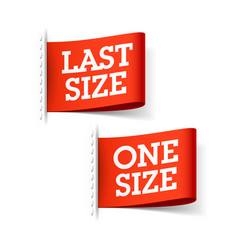 last size and one size clothing labels vector image vector image