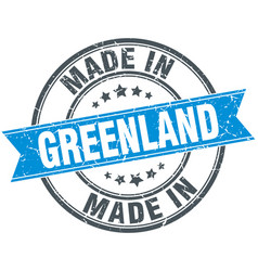 Made in greenland blue round vintage stamp vector