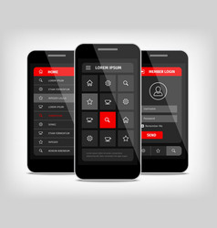 Mobile phones ui red buttons vector