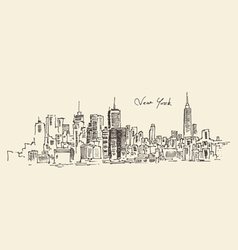New york city engraving hand d vector