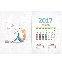 nice young woman is reading a book fun Calendar vector image vector image