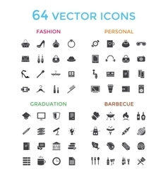Objects icons set fashion education or vector