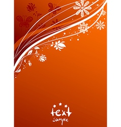 Orange floral backdrop vector