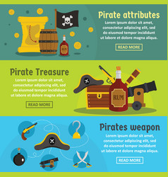 Pirate attribute banner horizontal set flat style vector
