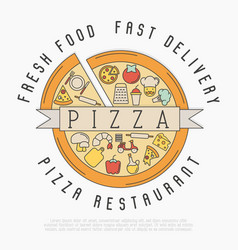pizza logo with thin line icons for menu design vector image vector image