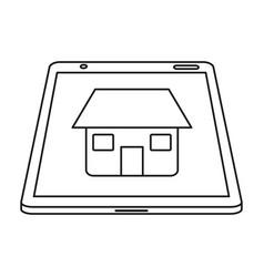 Real estate tablet app design line vector