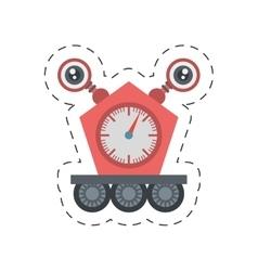 Robot clock eletronic mechanical cutting line vector
