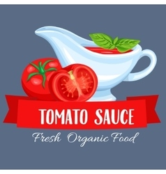 Saucers with tomato sauce vector