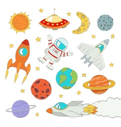 Set of cute outer space elements vector