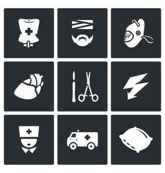 Set of Hospital Icons Drip Patient Mask vector image vector image