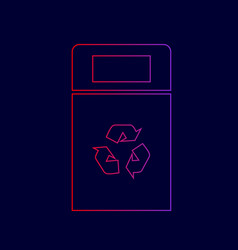 Trashcan sign line icon with vector