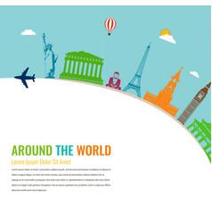 World landmarks travel and tourism background vector