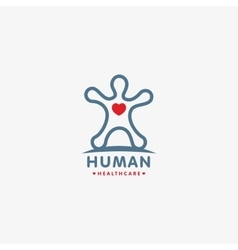 Isolated human silhouette logo with heart vector image