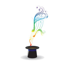Magic hat and music notes vector