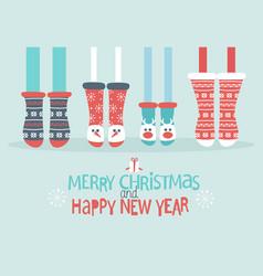 family feet in christmas socks vector image