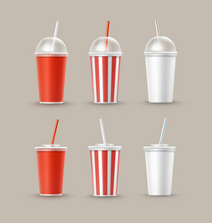 set of paper cups for soft drinks vector image