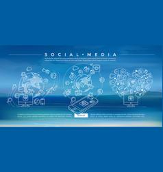 Social media blue linear vector