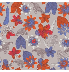 Tropical floral pattern vector
