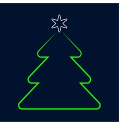 Stylized green christmas tree greeting with star vector