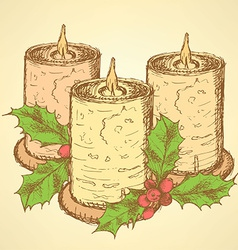 Sketch candle with mistletoe in vintage style vector