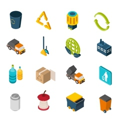 Garbage Isometric Icons vector image