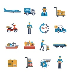 Delivery icons flat set vector