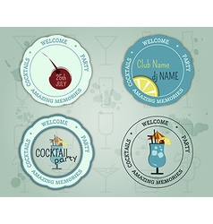 Summer cocktail party badge and logo layout vector