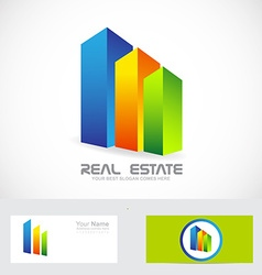 Real estate colors buildings logo icon vector