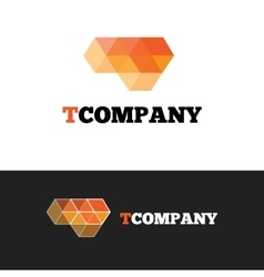 Modern orange t letter logo abstract cubes vector