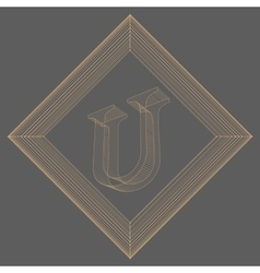 Letter u fonts of mesh vector