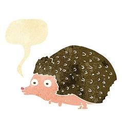 Cartoon hedgehog with speech bubble vector