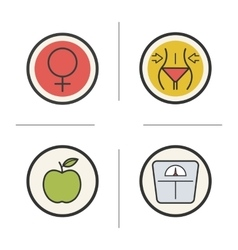 Weight loss diet color icons set vector