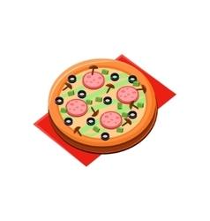 Mushroom salami pizza vector