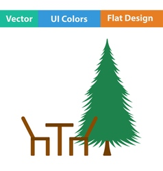 Icon of park seat and pine tre vector