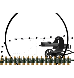 Machine gun and machine-gun belt vector image