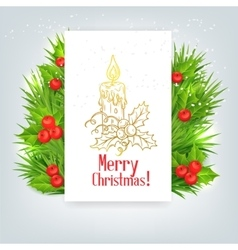 Background with christmas holly and candle vector