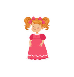 beautiful redhead little girl posing in pink dress vector image vector image