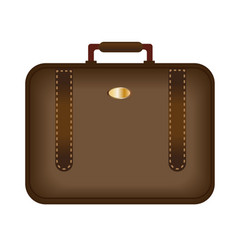 brown business suitcase icon luggage is isolated vector image vector image
