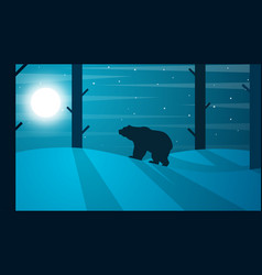Cartoon bear winter landscape tree vector