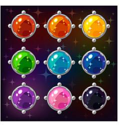 cartoon colorful circle gemstones vector image vector image