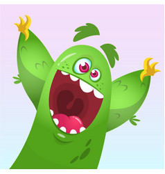 Cartoon green fluffy monster vector