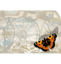 city and butterfly vector image vector image