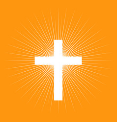 cross on light burst background vector image vector image
