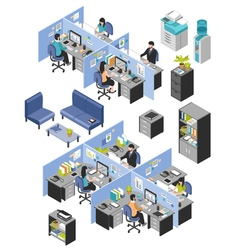 Cubicle office workplaces set vector