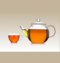 Cup and teapot of green tea vector